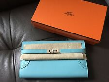 Authentic NIB Hermes Kelly Long Wallet Ghillies Blue Atoll PHW Clutch