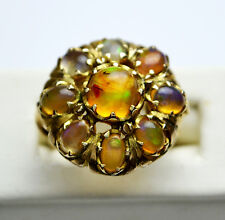Vintage Mexican Opal Dome Cocktail Cluster Ring - 14K Yellow Gold - Size 7.5