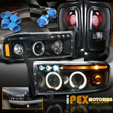 For 97-01 Dodge Ram 1500 SPORT Halo Projector LED Black Headlights + Tail Lights