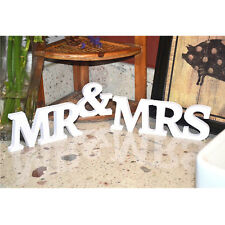 Romantic Mr and Mrs Wooden White Letters Wedding DIY 3D Decoration/Present