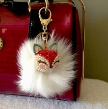 Fashion Pearl Rhinestone Fox Head With Real Fox Fur Key Chain Purse Charm