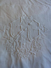 Drap 01 ancien métis blanc monogramme GG 220x270 cm OLD METIS SHEET EMBROIDERED
