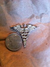 US USA Army Medical Corps Military Hat Lapel Pin Silver Tone