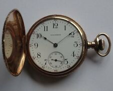 GOOD QUALITY RARE ANTIQUE 14CT GOLD WALTHAM HUNTER POCKET WATCH & BOX/CASE