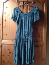 Ladies Gypsy Style Off Shoulder Dress Size 10 Green New