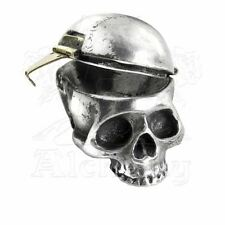 Alchemy Gothic Mortalitas Human Skeleton Skull Pewter & Brass Trinket Pill Box