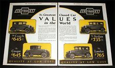 1926 OLD MAGAZINE PRINT AD, CHEVROLET, GREATEST CLOSED CAR VALUES IN THE WORLD!