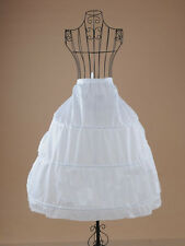 White 3 Hoop Nylon Bridal Wedding Dress Crinoline Petticoat Underskirt Gown