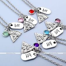 Jewelry Set BFF Best Friend Pizza Crystal Pendant Friendship Chain Necklace Gift