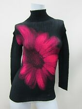 Issey Miyake Women's Black Floral Long-Sleeve Pleated Turtleneck Top Size 2