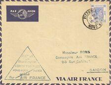 LETTRE PAR AVION OUVERTURE DU TRAFIC AERIEN POSTAL HONG KONG POUR SAIGON 1939