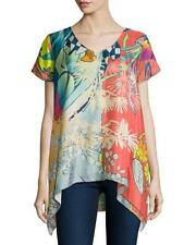 NWT Johnny Was  $220 1X Elly Short  Sleeve Silk Abstract Print Tunic Top