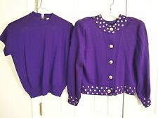 ST. JOHN by Marie Gray Purple Top, Sweater, & Skirt Suit Set Womens Size Small