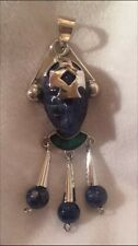 Vintage Sterling Silver Lapis Mayan Warrior w Malachite Pendant Stamped Mexico