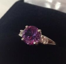 BEAUTIFUL 3ct Alexandrite & White Sapphire Sterling Silver Ring Sz 7 NWT June