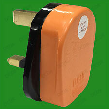 13A Orange High Impact Rubber UK British 3 Pin Mains Electical Plug BS1363/A