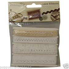 4 x 1 Metre CURIOSITY CORNER WHITE IVORY LACE RIBBON CARD MAKING EMBELLISHMENTS