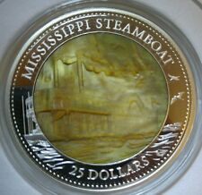 2015 COOK ISLANDS 5 OZ $25 MISSISSIPPI STEAMBOAT COIN