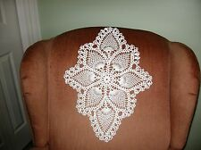 New Hand Crocheted White Oval Pineapple Doily