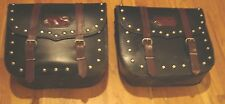 Leather Saddle Bag For Honda VTX & Harleys Motorcycle, Universal throwover style