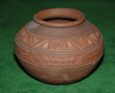 Vintage Southwest Native American Coiled Brown Ware Etched & Decorated