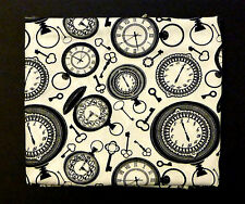 fat quarter in cotton poplin with pocket watches and keys on an ivory background