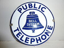 Vintage Original Porcelain Public Telephone Sign Bell System new unused