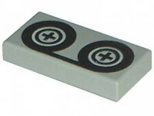 LEGO - Tile 1 x 2 with Tape Reels Pattern - Light Gray