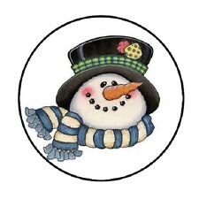 "48 Christmas Snowman Head!!!  ENVELOPE SEALS LABELS STICKERS 1.2"" ROUND"