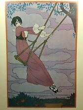 Vintage GEORGE LEPAPE Girl On A Swing Portal Publications Lithograph Poster