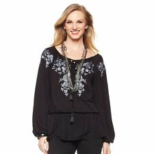 DG2 by Diane Gilman Romantic Embroidered Peasant Top LG Black 229863A Sale $25