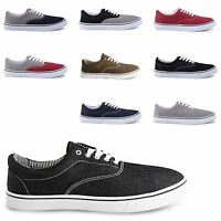 NEW MENS FLAT LACE UP CANVAS PLIMSOLLS DECK BOAT SHOES TRAINERS  SIZES UK 6-12