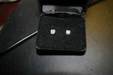Moissanite 1 CT ROUND 14K Gold STUD Earrings w/ 4 Sapphire Chips in each setting