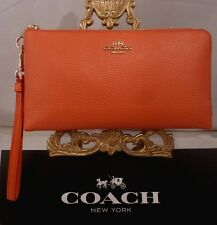 NWT COACH PEBBLED WATERMELON LEATHER DOUBLE CORNER ZIP WRISTLET WALLET 53089