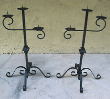 "VINTAGE RESTORED CANDALABRA 19"" X 12"" PAIR 1950's WROUGHT IRON CANDLE HOLDERS"