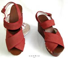 SANDRO - WEDGE SANDALS ALL LEATHER RED & NAILS 38 - EXCELLENT CONDITION