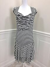 SOFT SURROUNDINGS Navy and White Striped Knit Dress with Cap Sleeves size M