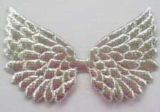 100! Angel & Fairy Wings - Metallic Silver Padded Wing Embellishments 7cm/2.5""