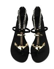 GIUSEPPE ZANOTTI Black Suede Gold Anchor Toe-Ring Flat Sandal Shoe 40 NIB