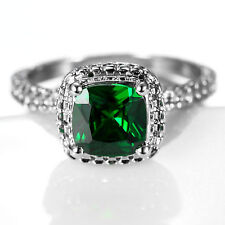 CD94 1.40ct Natural Emerald 7*7mm 14K White Solid Gold Ring Size US 7
