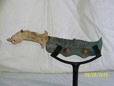 Chinese Ming Dy Style Dagger Verdigris Blade Old Jade Handle w/Jade Cabochon's