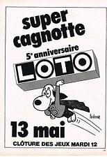 PUBLICITE  1981   LOTO  super cagnotte 5° anniversaire par BARBEROUSSE