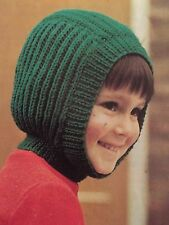 Knitting pattern for kids wooly balaclava casque chapeau-children 's