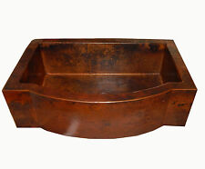 Rounded Apron Front Farmhouse Kitchen Single Well Mexican Copper Sink 33x22 # 12