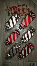 Set of 6 Miniature Christmas Holiday Peppermint Candy Ornaments Sweets Treats