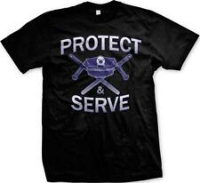 Protect and Serve Police Nightsticks Officer Cop First Responders Mens T-shirt