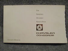 1994 Chrysler Concorde Owners Users Manual 81-026-9425 Guide Reference Book B343