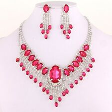 New Women Fashion Pink Crystal Necklace set Prom Bridal Bridesmaid Jewelry