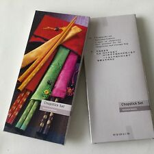 Set of 4 chopsticks. Incl.pouches & storage bag, varnished bamboo. Packed in box