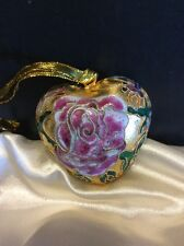 "Cloisonné 2.25"" Heart Shaped Ornament With Rose/Butterfly/Floral"